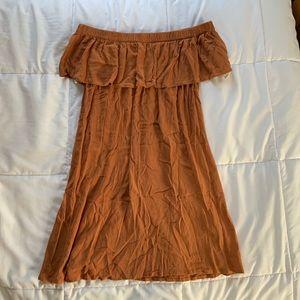 Forever 21 Off-The-Shoulder Burnt Orange Dress